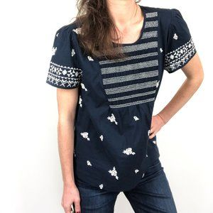 NWT Lucky Brand Blue White Printed Smocked Top